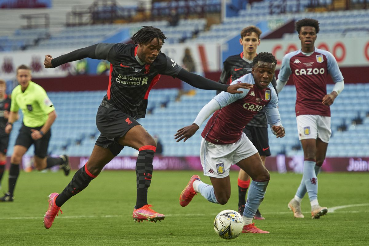James Balagizi of Liverpool Youth at Villa Park on May 24, 2021 in Birmingham, England.