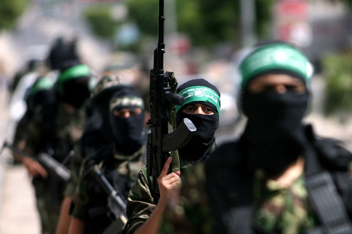 Members of Hamas parade in Gaza