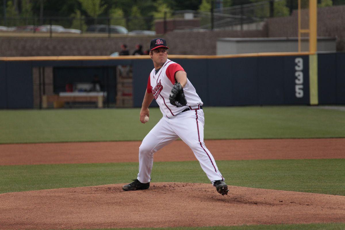 Atlanta Braves prospect J.J. Hoover (Photo by Kayte Henderson, courtesy Gwinnett Braves 2011)