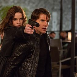 """Rebecca Ferguson plays Ilsa and Tom Cruise plays Ethan Hunt in """"Mission: Impossible – Rogue Nation."""""""