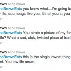 """<a href=""""http://eater.com/archives/2011/08/04/alton-brown-deletes-twitter-account.php"""" rel=""""nofollow"""">Alton Brown Leaves Twitter to 'Sick, Low Life Scumbags'</a><br />"""