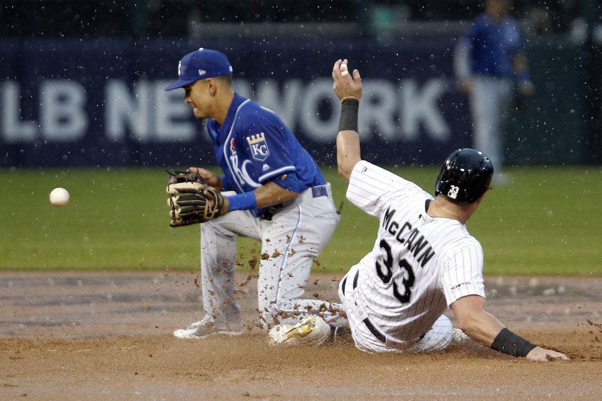 CHICAGO, ILLINOIS - MAY 27: James McCann #33 of the Chicago White Sox goes to second while Nicky Lopez #1 of the Kansas City Royals catches the throw from third base during the fifth inning at Guaranteed Rate Field on May 27, 2019 in Chicago, Illinois. (P