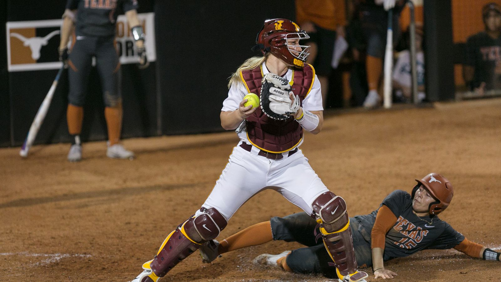 Gophers_catcher_kendyl_lindaman_outs_a_player_in_february_2017_at_the_unversity_of_texas_in.0