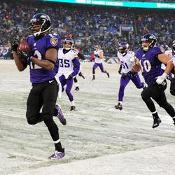 Jacoby Jones of the Ravens returns a kickoff for a touchdown vs. the Vikings