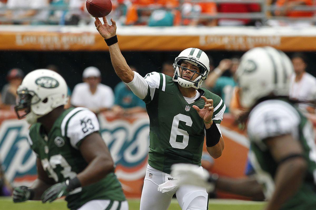 Sept 23, 2012; Miami Gardens, FL, USA;  New York Jets quarterback Mark Sanchez (6) throws an interception against the Miami Dolphins in the first quarter at Sun Life Stadium. Robert Mayer-US PRESSWIRE