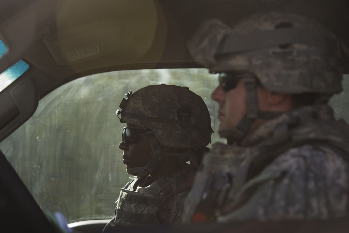 Texas National Guard members near the US-Mexico border on August 25, 2014.