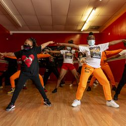 Dancers with Ultimate Threat Dance Organization dance at the studio, Thursday, May 20, 2021. Verndell Smith, the founder of the dance studio was shot and killed yesterday.