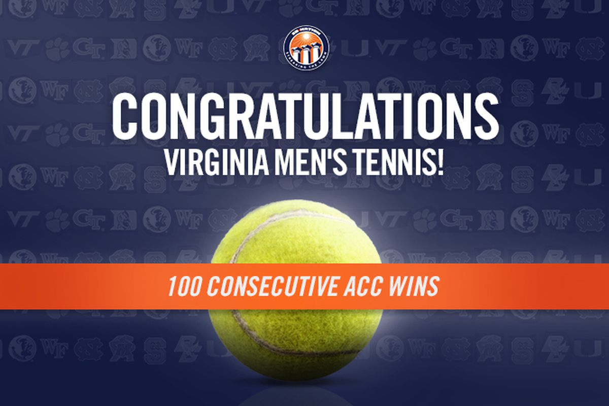 Congratulations to Virginia Men's Tennis on their 100th consecutive ACC victory!