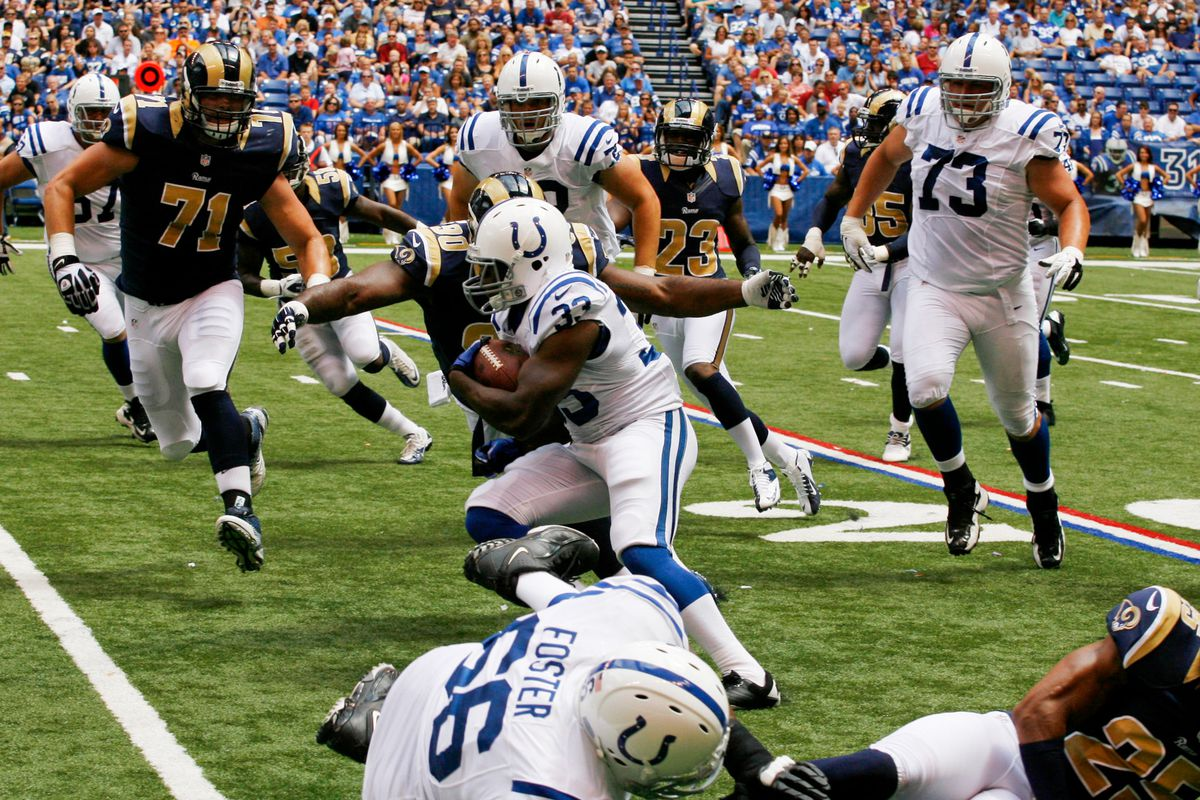 Aug 12, 2012; Indianapolis, IN, USA; Indianapols Colts running back Vick Ballard (33) is tackled by St. Louis Rams defensive tackle Michael Brockers (90) at Lucas Oil Stadium.  Mandatory Credit: Brian Spurlock-US PRESSWIRE