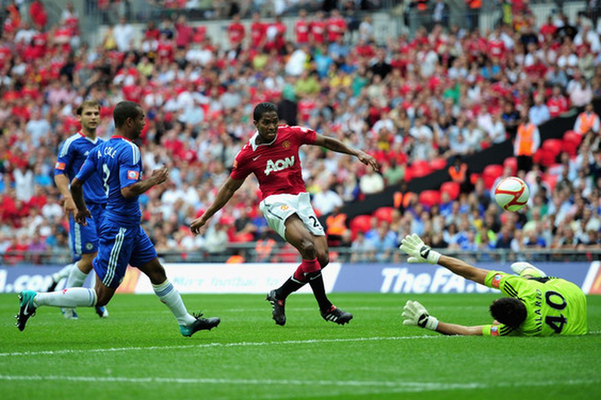 LONDON ENGLAND - AUGUST 08:  United's key man in midfield this season scores against Chelsea. (Photo by Shaun Botterill/Getty Images)