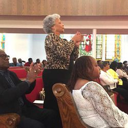 Jackie Askew, a member of 16th Street Baptist Church, during Sunday service on Dec. 3.