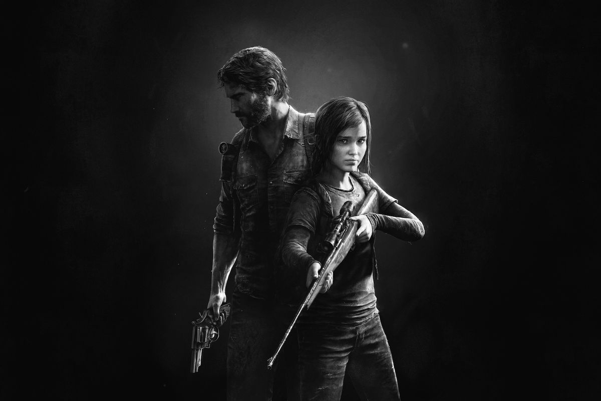 black-and-white artwork from The Last of Us Remastered of Joel and Ellie holding guns