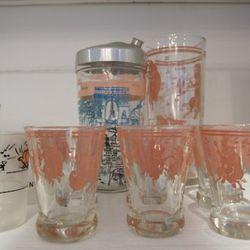 Decorative glassware behind the register