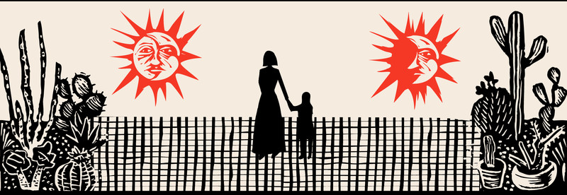 Illustration of a woman holding a child's hand, in the sun, near cacti.