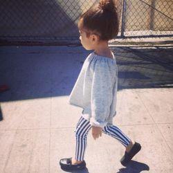 Zara Kids striped leggings, boy+girl sweater, Venettini loafers
