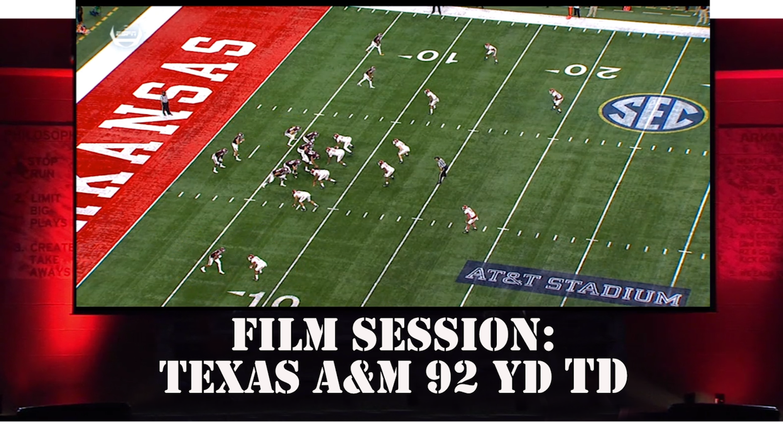 Film Room Session Vs Texas A&M: Part 1 Breaking Down the 92 YD TD - Arkansas Fight