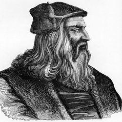 Sadly, Leo never revealed the secret to his shiny tresses — seen here in a 16th century Venetian engraving — before he passed. Happy birthday, Leonardo da Vinci!