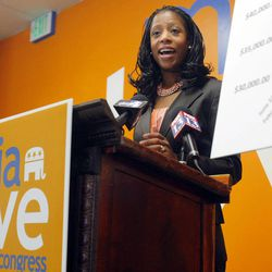 Saratoga Springs mayor and congressional candidate Mia Love speaks at a press conference Monday, Oct. 1, 2012, about the cost of having Congressman Jim Matheson in office.