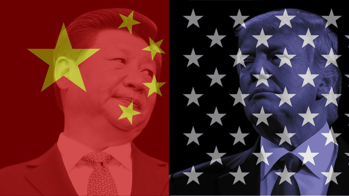A photo illustration shows an image of Chinese President Xi Jinping with the Chinese flag superimposed over his face, side by side with an image of President Donald Trump with part of the American flag superimposed over his face.