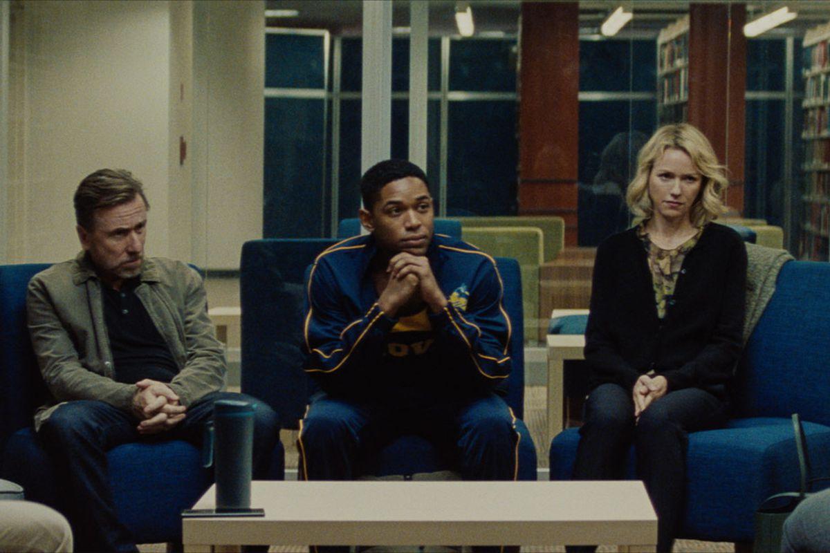 Tim Roth, Kelvin Harrison Jr., and Naomi Watts in Luce.