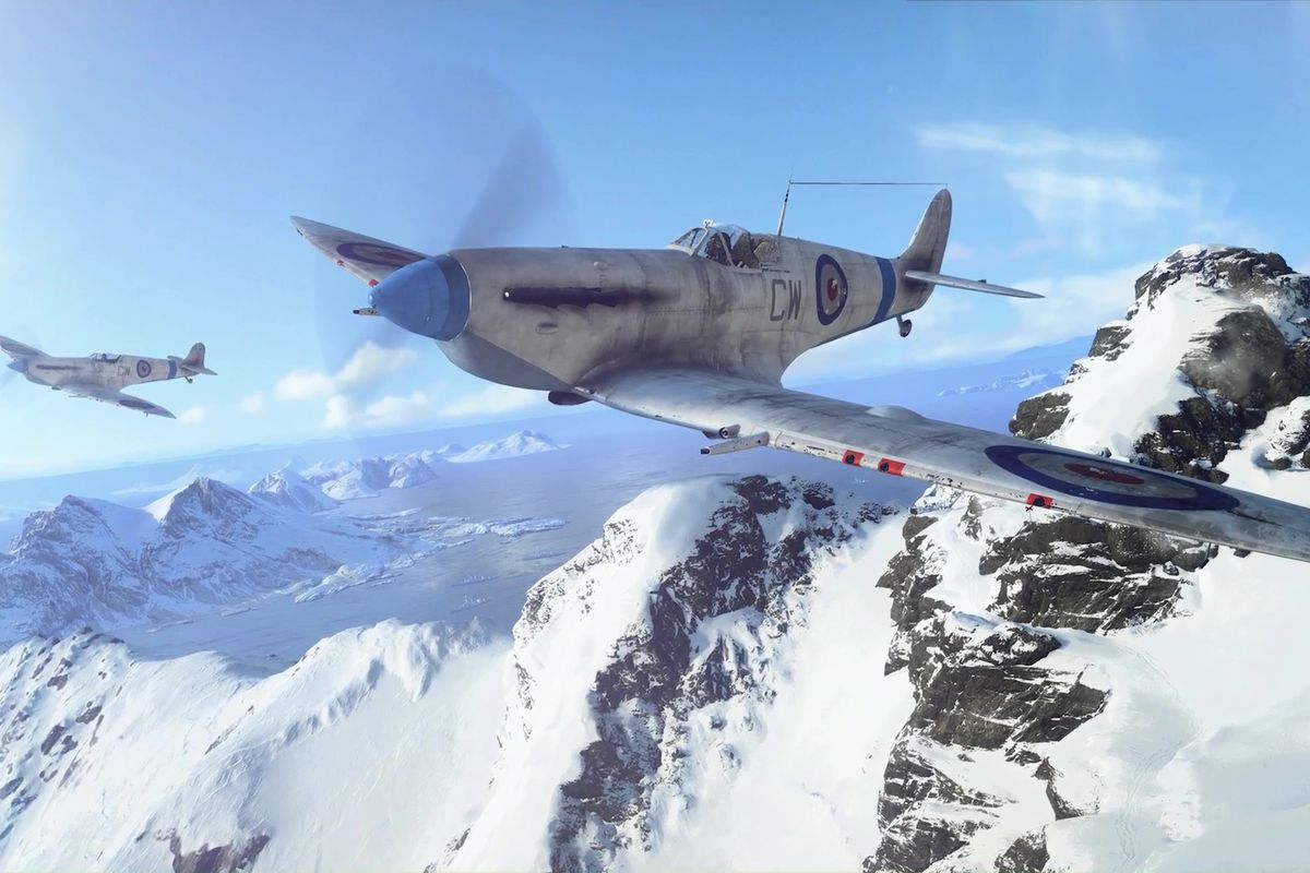 Battlefield 5 - two fighter planes flying over snowy mountains