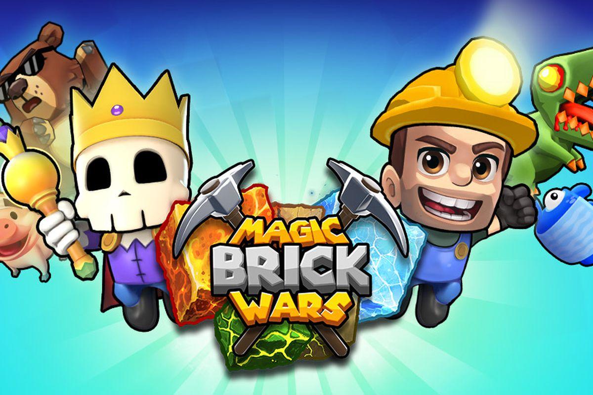 Zany cartoon characters from Halfbrick Studios' universe of games surround the Magic Brick Wars logo