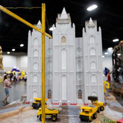A float depicting renovations on the Salt Lake Temple of The Church of Jesus Christ of Latter-day Saints by the Salt Lake Granite Stake is pictured during the Days of '47 Float Preview Party at the Mountain America Expo Center in Sandy on Tuesday, July 20, 2021.