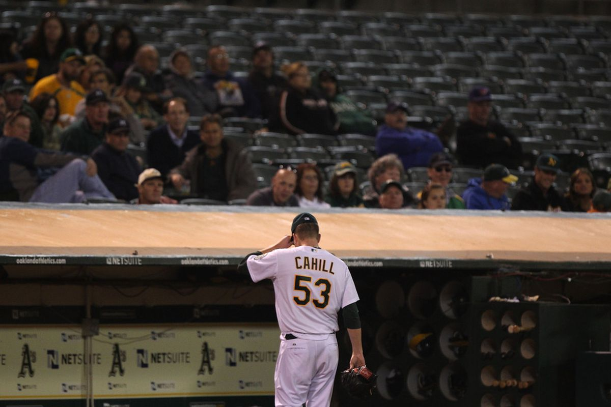 OAKLAND, CA - AUGUST 18:  Trevor Cahill #53 of the Oakland Athletics leaves the game against the Toronto Blue Jays in the sixth inning at O.co Coliseum on August 18, 2011 in Oakland, California.  (Photo by Jed Jacobsohn/Getty Images)