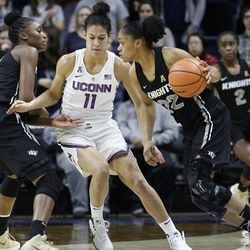 The UCF Knights take on the UConn Huskies in a women's college basketball game at Gampel Pavilion in Storrs, CT on January 9, 2018.