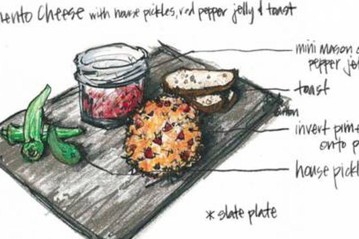 Illustration of Buttermilk Kitchen's pimento cheese dish.