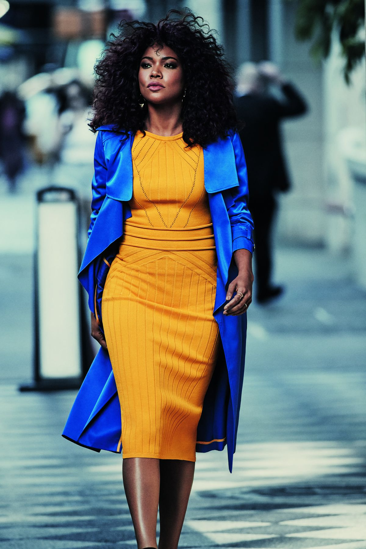 Gabrielle Union Collection Stitched Sweater Dress, $74.95, and Piped Trench Coat, $79
