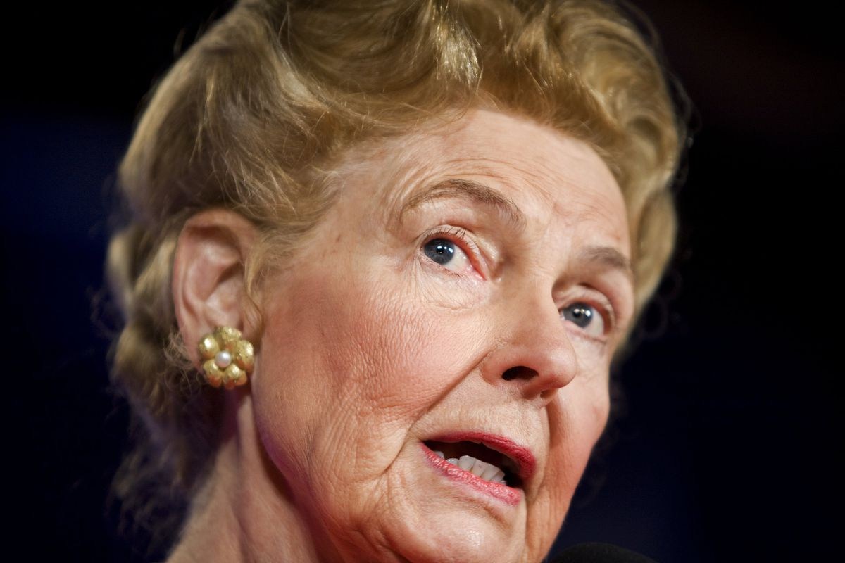 Phyllis Schlafly speaks at a Family Research Council briefing, in 2007.