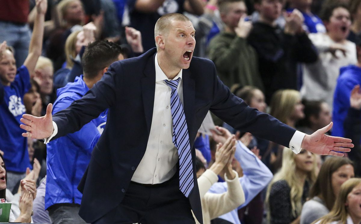 Brigham Young Cougars head coach Mark Pope yells at his team during the second half of an NCAA basketball game in the Beehive Classic at Vivint Arena in Salt Lake City on Saturday, Dec. 14, 2019. BYU defeated Utah State 68-64 in regulation.