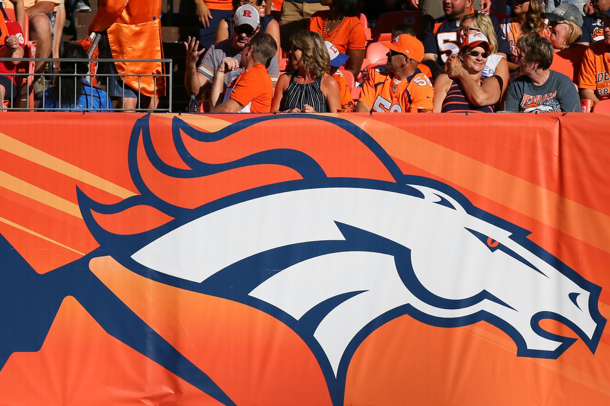 A general view of the Denver Broncos logo on the sidelines during a game against the Indianapolis Colts at Sports Authority Field at Mile High on September 18, 2016 in Denver, Colorado.