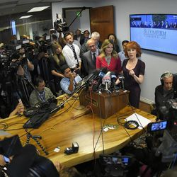 Comedian Kathy Griffin, right, speaks along with her attorney Lisa Bloom during a news conference, Friday, June 2, 2017, in Los Angeles, to discuss the backlash since Griffin released a photo and video of her displaying a likeness of President Donald Trump's severed head.