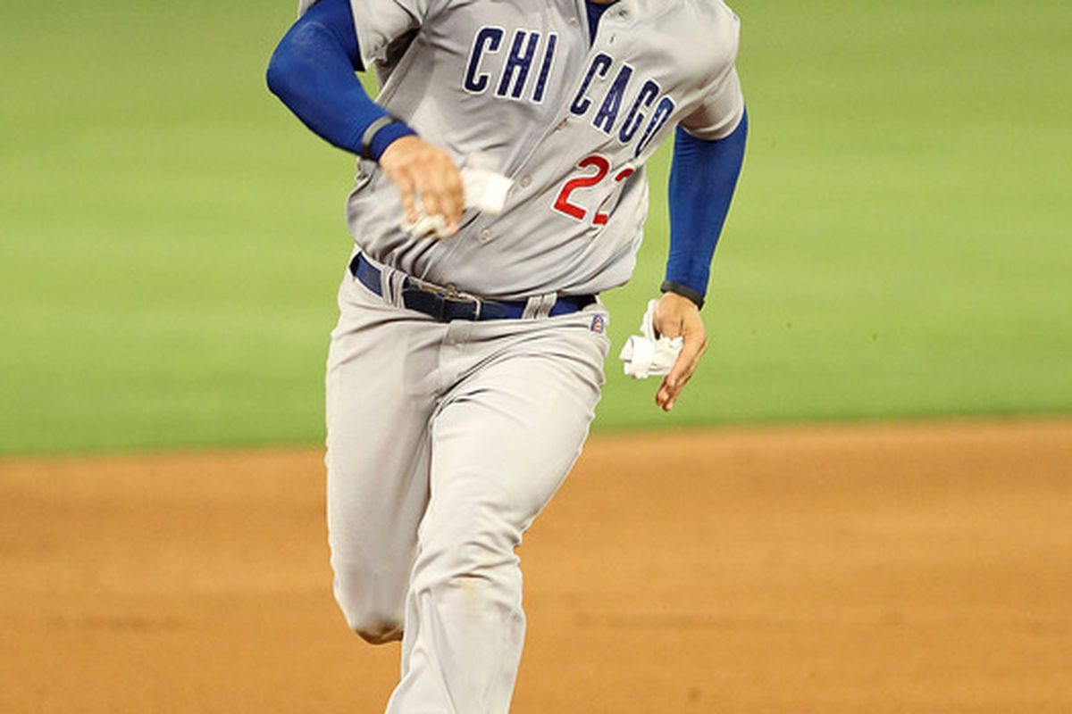 Carlos Pena of the Chicago Cubs rounds second during a game against  the Florida Marlins at Sun Life Stadium on May 19, 2011 in Miami Gardens, Florida.  (Photo by Mike Ehrmann/Getty Images)