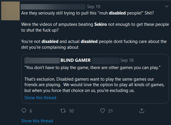 a gamer posts a tweet mocking another player for not wanting to be excluded from playing a game