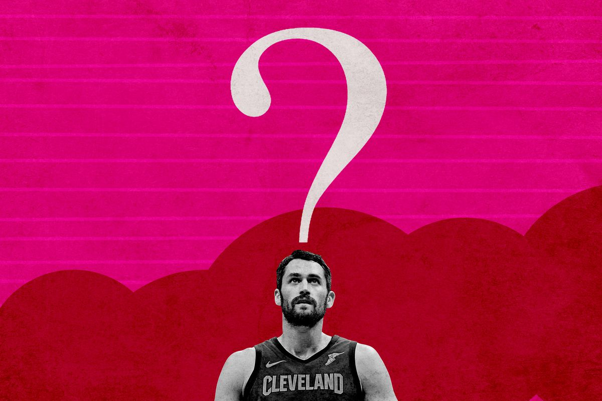 Kevin Love looking at a question mark above his head