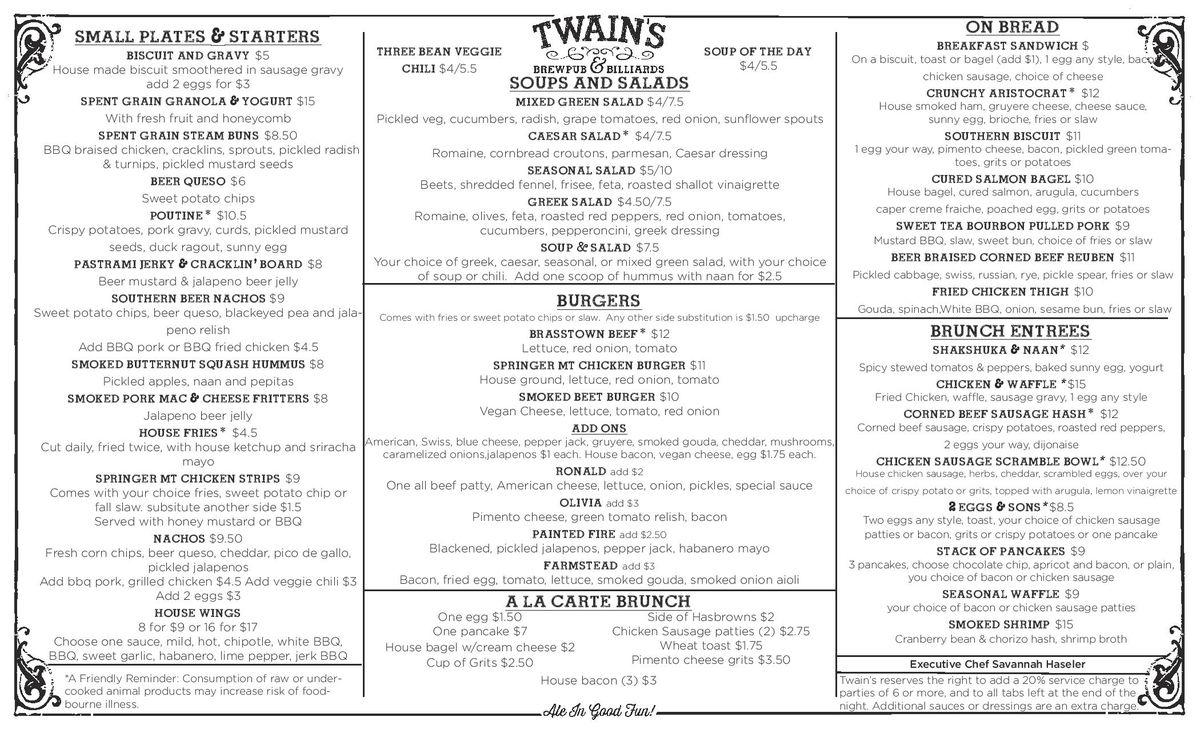 Twain's brunch menu