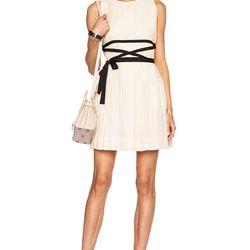 Pleated cotton-silk blend mini dress, $339 (was $565)