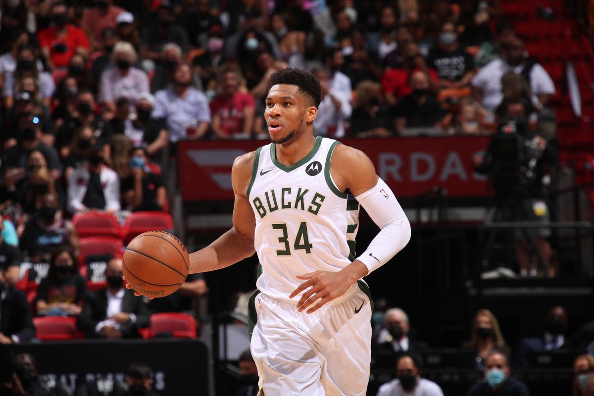Giannis Antetokounmpo #34 of the Milwaukee Bucks dribbles the ball during Round 1, Game 4 of the 2021 NBA Playoffs on May 29, 2021 at American Airlines Arena in Miami, Florida.