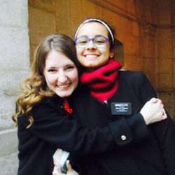 Sister Hannah Nelson hugs Sister Fanny Clain when they were LDS missionary companions in December 2015. Clain began her mission in November, and Nelson was her trainer.