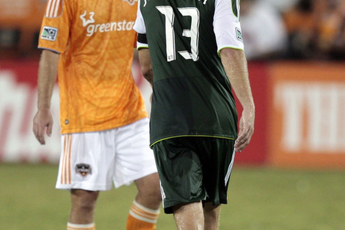 HOUSTON - AUGUST 14:  Midfielder Jack Jewsbury #13 of the Portland Timbers scores in the 56th minute against the Houston Dynamo at Robertson Stadium on August 14, 2011 in Houston, Texas. Houston won 2-1. (Photo by Bob Levey/Getty Images)