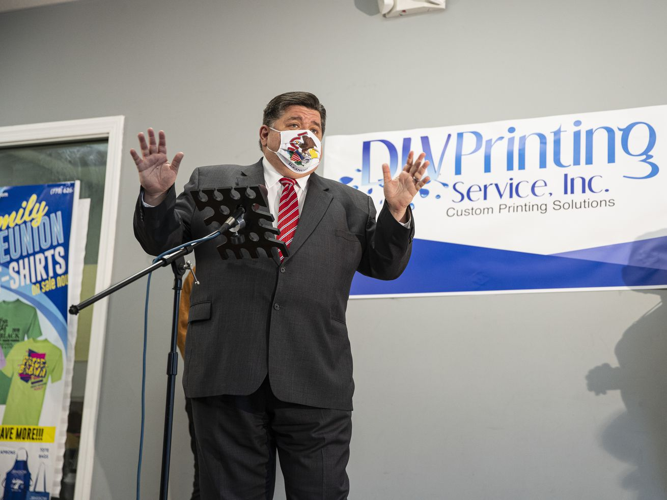 Gov. J.B. Pritzker answers questions last Wednesday.