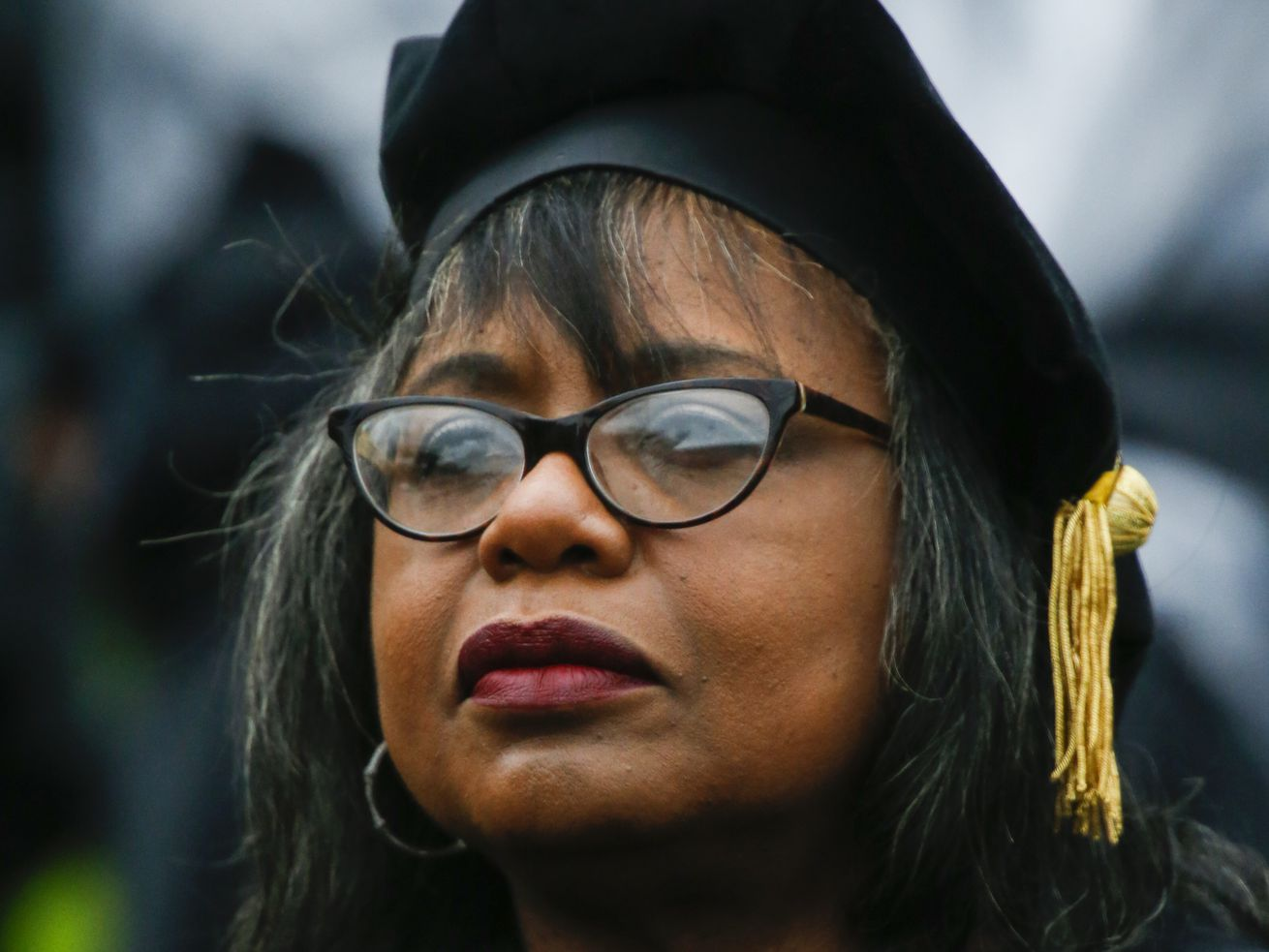Law professor Anita Hill attends the commencement ceremony at Wesleyan University on May 27, 2018, in Middletown, Connecticut.