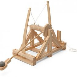 Based on drawings from DaVinci's Codex Atlanticus, this Pathfinders catapult kit uses a pair of bent wooden arms as springs to launch clay balls (included) over (4) meters at enemy fortifications (not included, go make your own enemies). The assembled mod