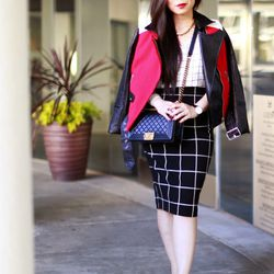 "An of <a href=""http://hautepinkpretty.com""target=""_blank"">Haute Pink Pretty</a> is wearing an Express jacket, <a href=""http://www.express.com//clothing/windowpane+plaid+high+waist+midi+pencil+skirt/pro/7686362/cat2011?AID=11913451&PID=4441350&SID=%7E3319m"