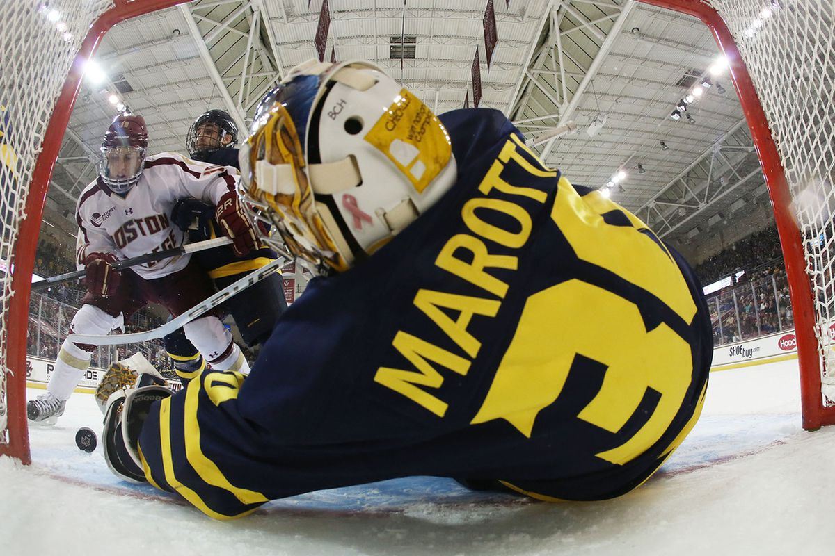 Sam Marotta made all the big stops as Merrimack won at Vermont to open the 2013 Hockey East schedule.