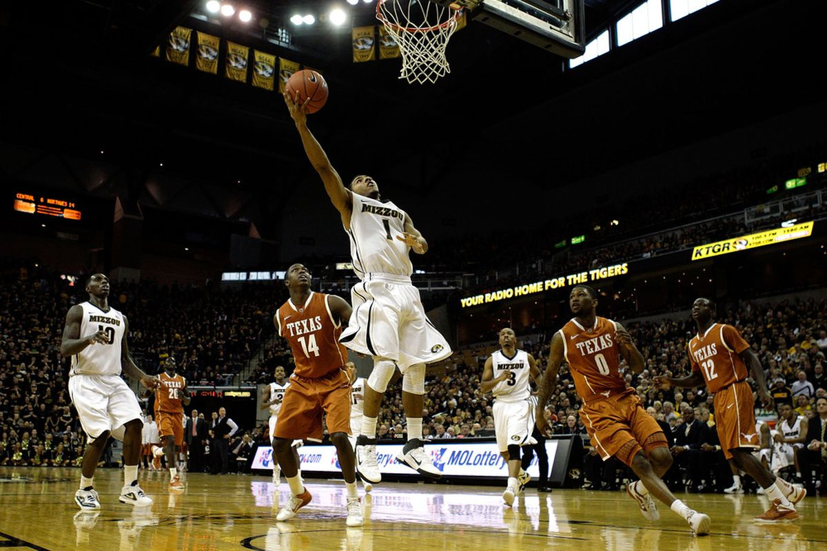 COLUMBIA, MO - JANUARY 14:  Phil Pressey #1 of the Missouri Tigers goes up for a lay-up during the game against the Texas Longhorns on January 14, 2012 at Mizzou Arena in Columbia, Missouri.  (Photo by Jamie Squire/Getty Images)