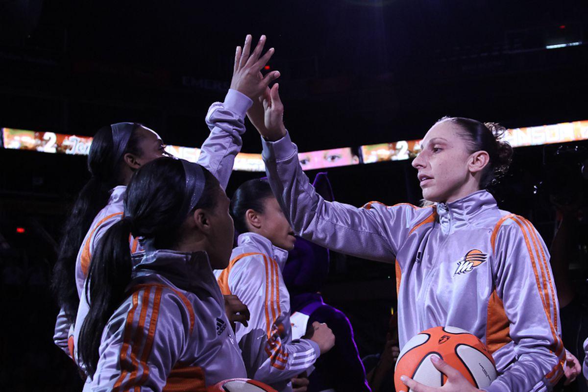 Phoenix Mercury huddle before a game. Photo by Ryan Malone, SB Nation Arizona.